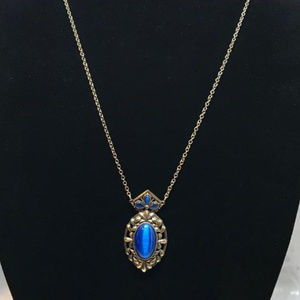 Gold Tone Necklace with Blue Cats Eye Pendant